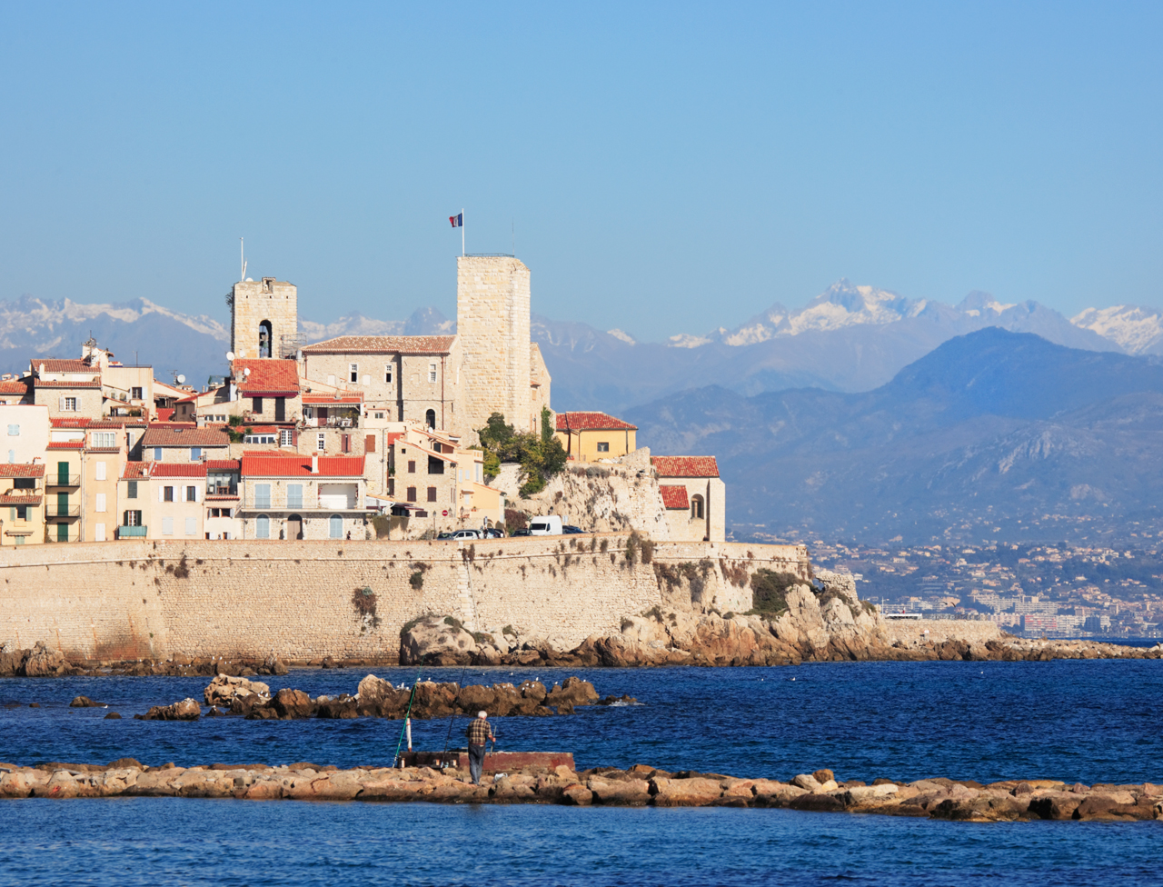 Antibes cityscape and mediterranean coast, French Riviera