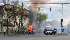Mașină în flăcări, Calea Torontalului