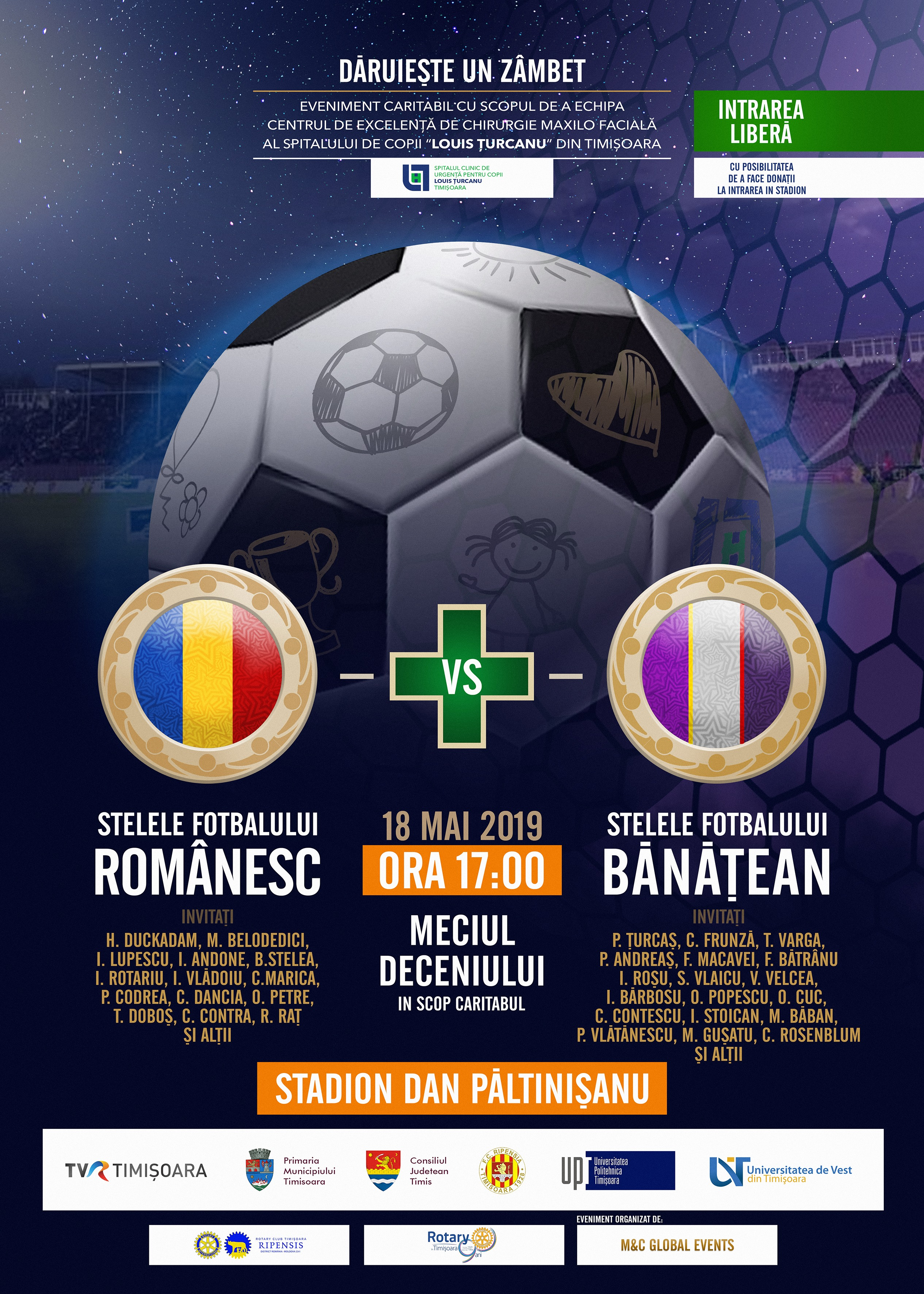 Meci de fotbal caritabil la Timișoara