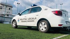 Mașini de poliție parcate pe terenul de la Electrica