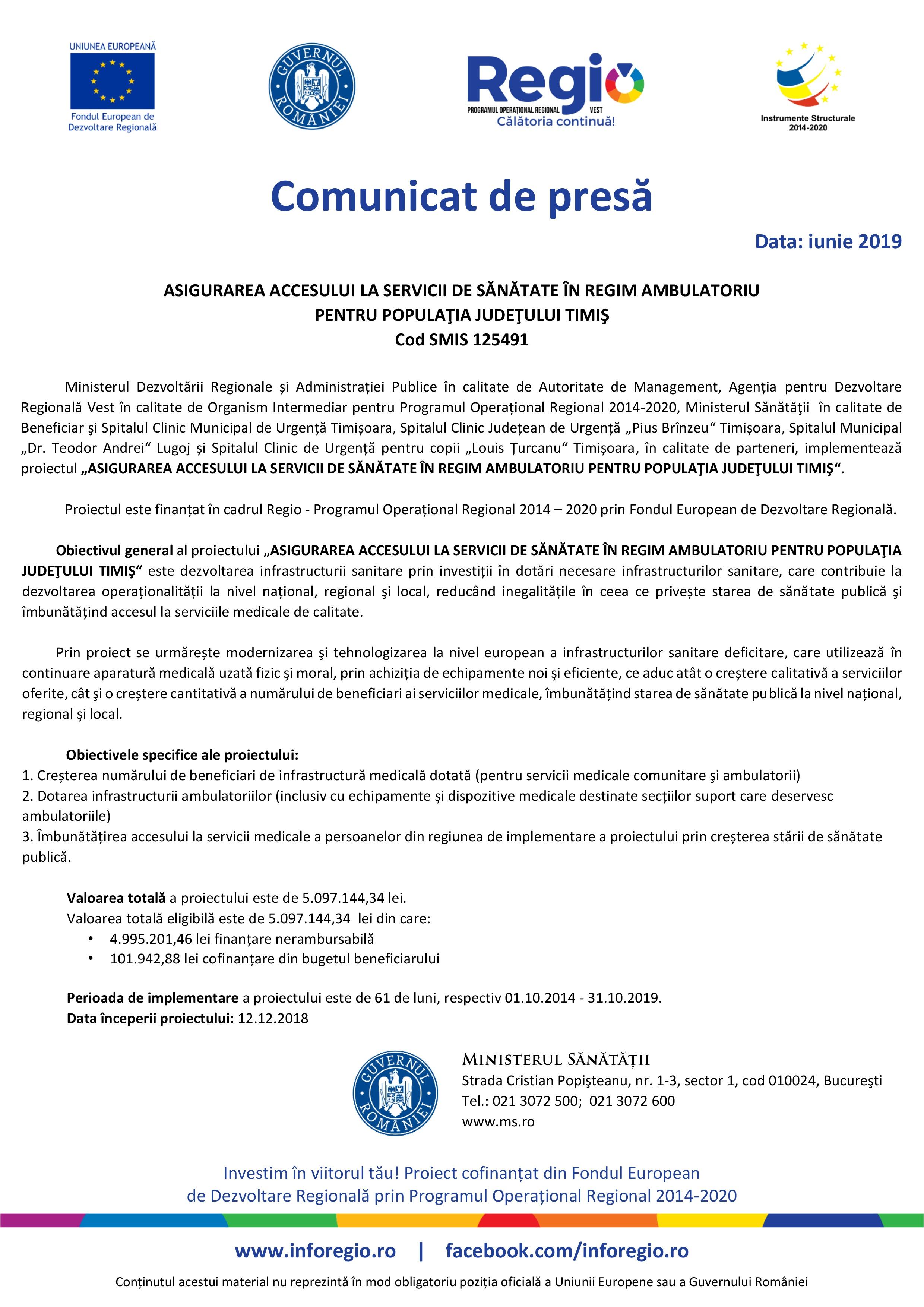 Spital Timisoara - Comunicat lansare proiect - (19.06.2019, 20.06.2019 si 21.06.2019)