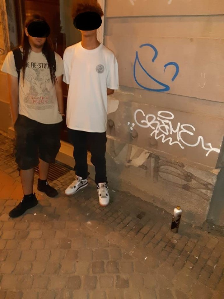 Tineri amendați că au mâzgălit pereții unui magazin din Timișoara