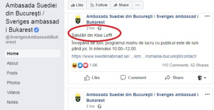 mesaj Ambasada Suediei