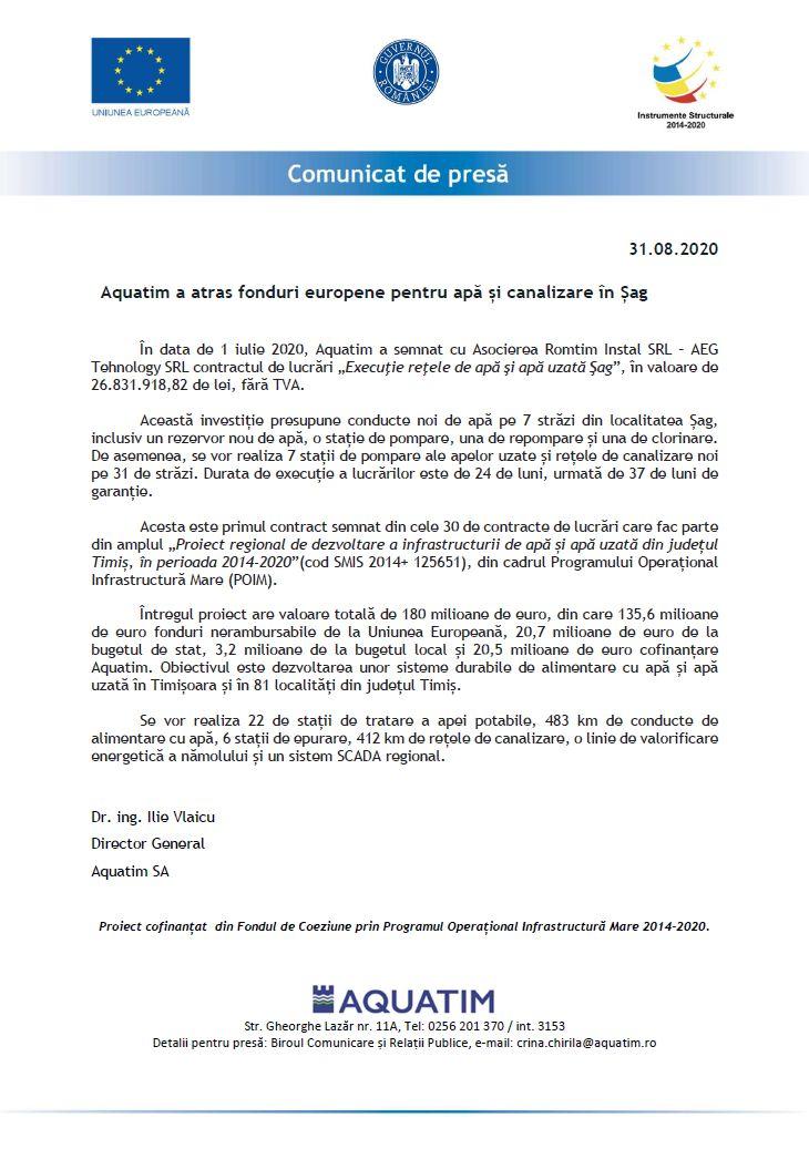 Aquatim a atras fonduri europene pentru apă și canalizare în Șag