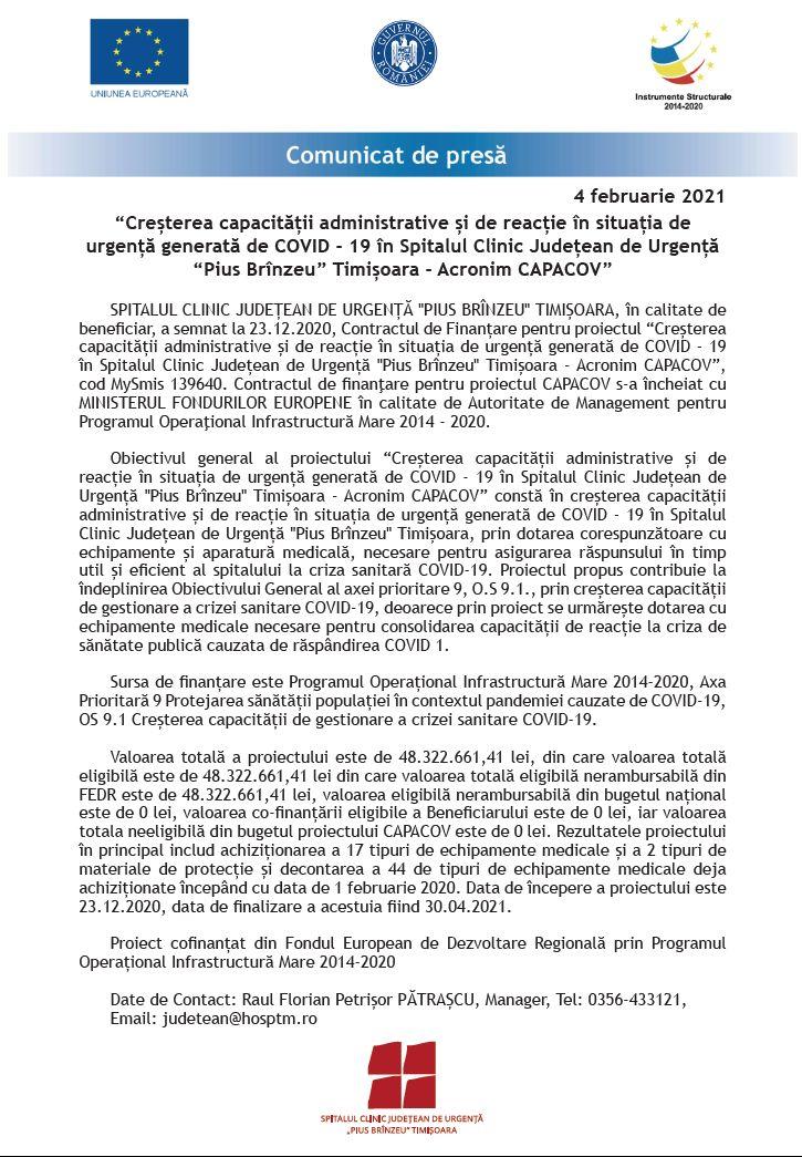"""Creșterea capacității administrative și de reacție în situația de urgență generată de COVID - 19 în Spitalul Clinic Județean de Urgență """"PIUS BRÎNZEU"""" TIMIȘOARA - Acronim CAPACOV"""